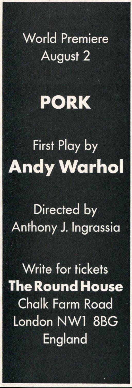 1971 Andy Warhol World Premiere of Pork Vintage 1971 Magazine Ad Advert