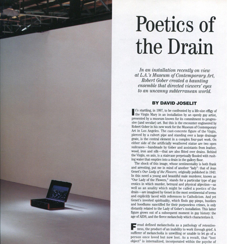 Robert Gober 1997 Poetics of the Drain Magazine Article by David Joselit