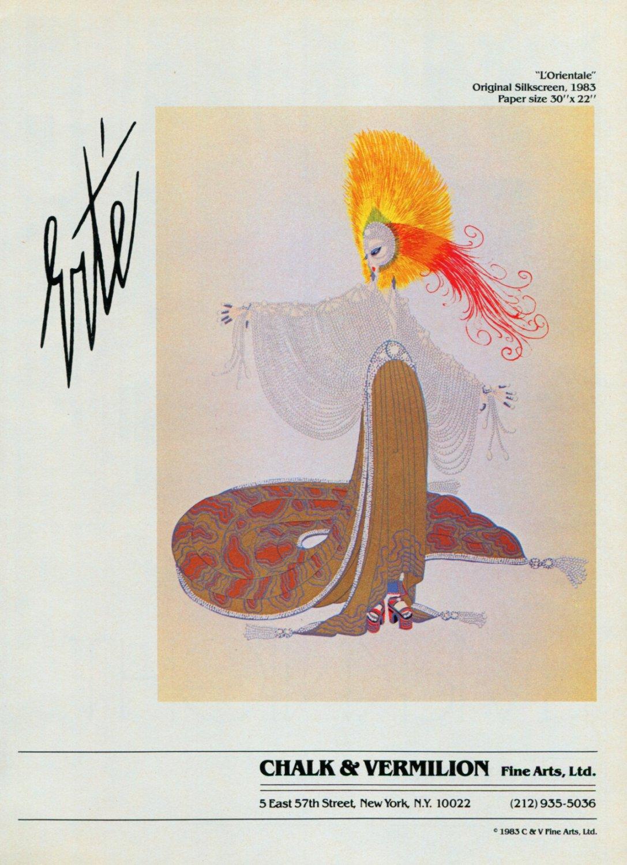 Erte L'Orientale 1983 Art Ad Advert Advertisement