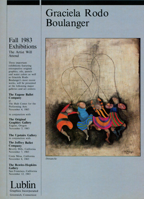 Graciela Rodo Boulanger Dimanche 1983 Art Exhibition Ad Advert