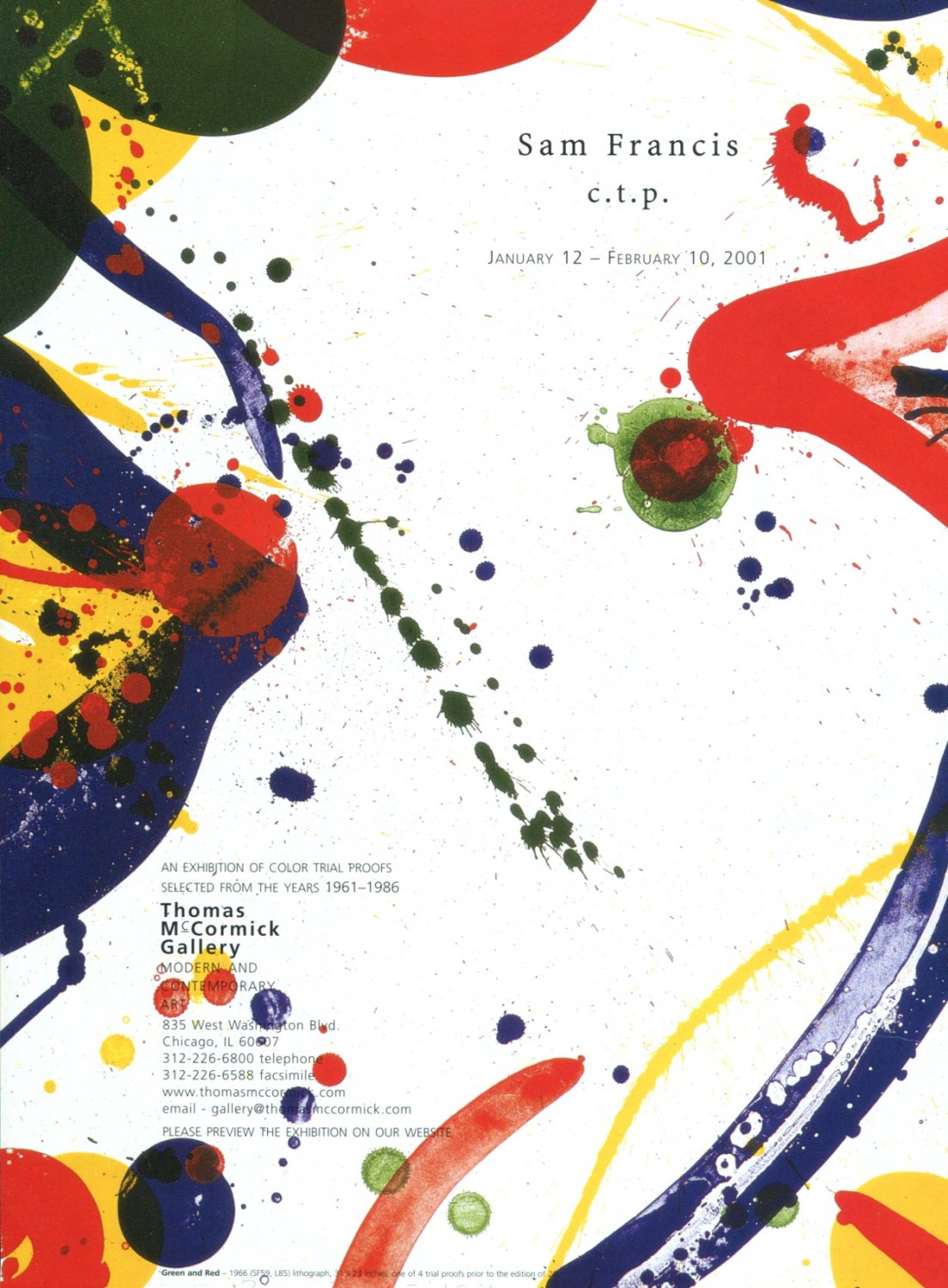Sam Francis c.t.p. 2001 Art Exhibition Ad Advert