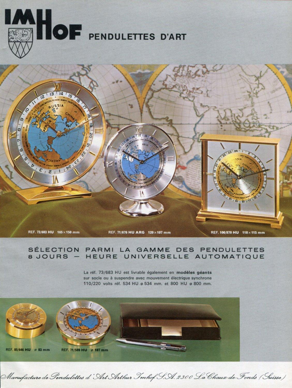 1970 Imhof Clock Company Arthur Imhof SA 1970 Swiss Ad Advert Suisse Schweiz