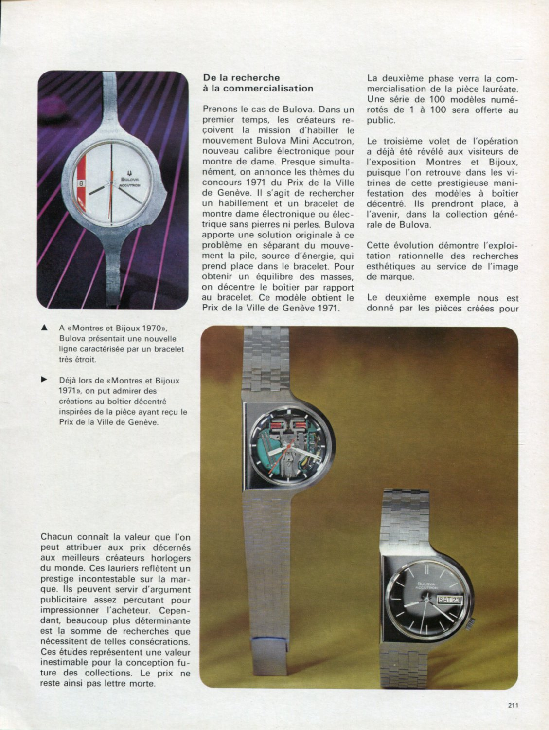 1972 L'Evolution de la Mode Horlogere Doit Etre Planifiee Swiss Magazine Article Bulova Watch Co.