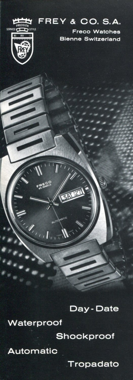Frey & Co SA Freco Watch Company Switzerland 1972 Swiss Ad Advert Suisse Schweiz