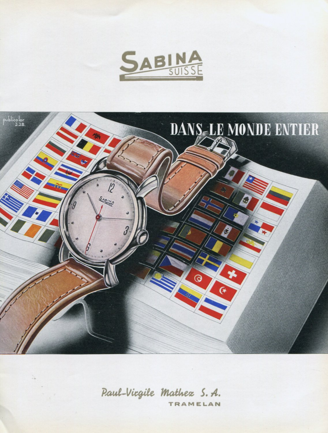 1947 Sabina Watch Company Paul-Virgile Mather SA Switzerland Vintage 1947 Swiss Ad Advert Suisse