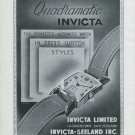 1947 Invicta Watch Company Invicta Quadramatic Ad Advert 1947 Swiss Ad Suisse Schweiz Suiza