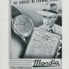 1946 Mondia Watch Company Switzerland Vintage 1946 Swiss Ad Advert Suisse Schweiz Suiza Paul Vermot