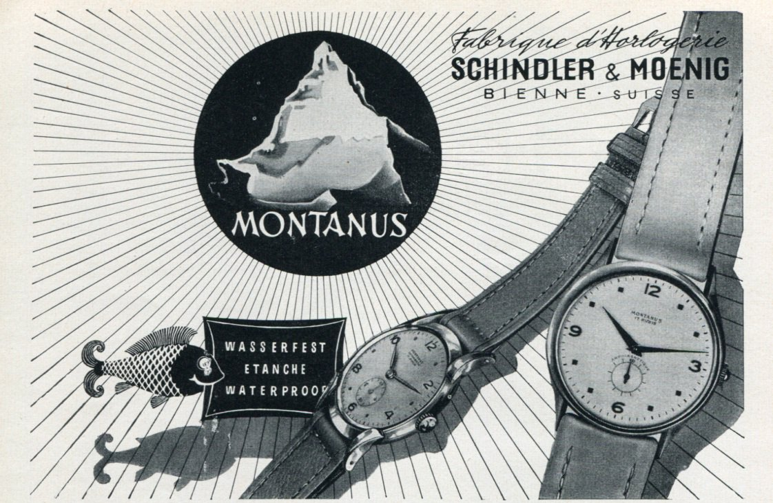 1953 Montanus Watch Company Schindler & Moenig Switzerland Vintage 1953 Swiss Ad Advert Suisse Suiza
