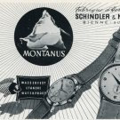 1953 Montanus Watch Company Schindler & Moenig Switzerland Vintage 1953 Swiss Ad Advert Suisse Suiza