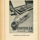 1948 Chatons S.A. Le Locle Switzerland Vintage Swiss Magazine Print Ad Advert Horology 1940's