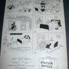 Original 1945 Santa Statler Hotels Christmas Ad Santa Steals Bed Vintage 1940's Ad Magazine Advert
