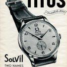 Original 1954 Titus Watch Co Solvil Montres Paul Ditisheim SA Swiss Print Ad Publicite Suisse