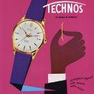 Original 1956 Technos Watch Company Gunzinger Freres 1950's Swiss Print Ad Publicite Suisse