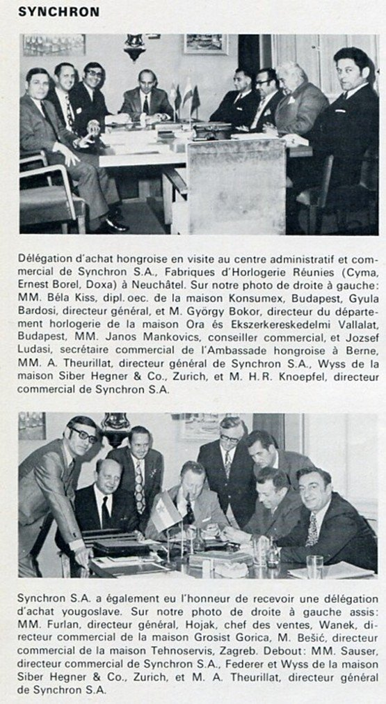 1973 Synchron S.A. Ernest Borel Cyma Doxa Swiss Magazine Clipping Suisse