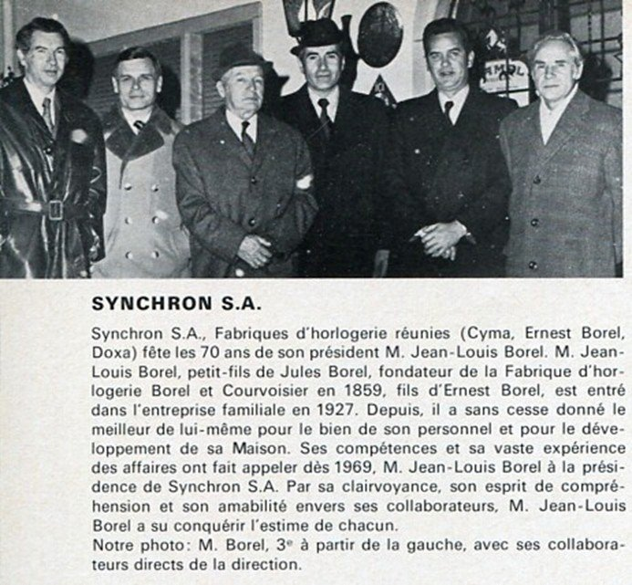 1974 Synchron SA Watch Co Ernest Borel Cyma Doxa Swiss Magazine Clipping 1970's Suisse