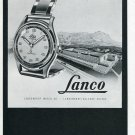 1948 Lanco Langendorf Watch Company Switzerland Original 1940's Swiss Print Ad Publicite Suisse