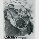 1948 Nicolet Watch Company Switzerland Original 1940's Swiss Print Ad Publicite Suisse
