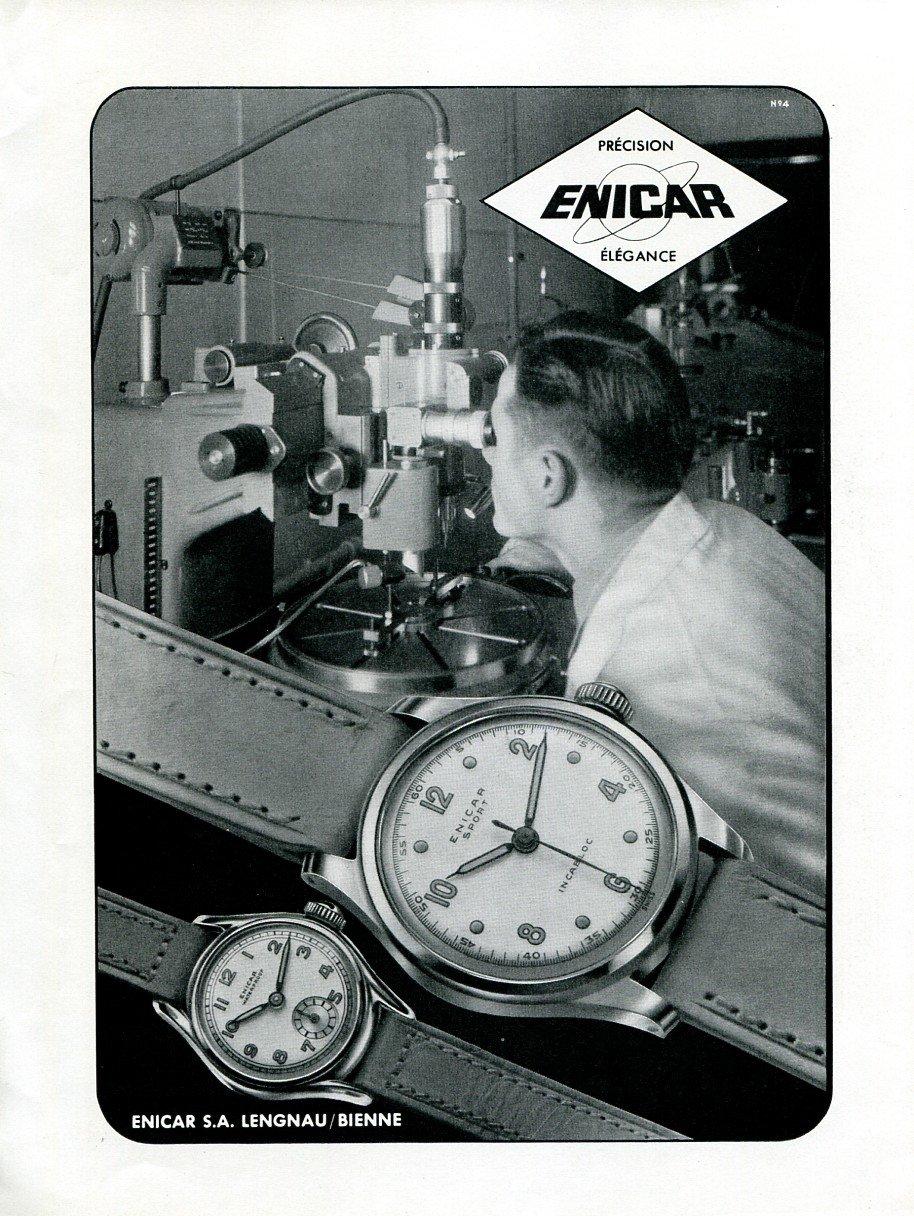 Original 1949 Enicar SA Watch Co Switzerland 1940s Swiss Print Ad Publicite Suisse Montres