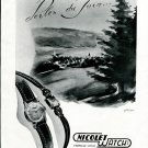 Original 1949 Nicolet Watch SA Switzerland 1940's Swiss Magazine Ad Advert Publicite Suisse