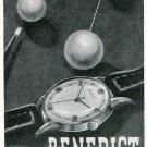 1949 Benedict Watch Company Switzerland Original 1940's Swiss Print Ad Suisse Publicite Montres