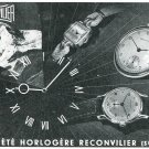 1949 Societe Horlogere Reconvilier Watch Co 1940's Swiss Ad Suisse Publicite Montres