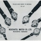 Vintage 1956 Neuchatel Watch Company Switzerland 1950's Swiss Print Ad Publicite Suisse Montres