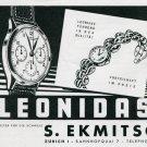 1945 Leonidas Watch Company 1940s Swiss Print Ad Publicite Suisse Schweiz