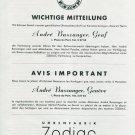1945 Zodiac Watch Company Andre Baszanger 1940's Swiss Print Ad Publicite Suisse Schweiz