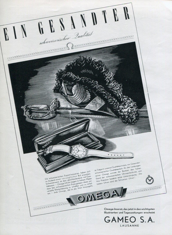 1946 Omega Watch Company Ein Gesandter Schweizerischer Qualitat Swiss Ad Publicite Suisse Schweiz