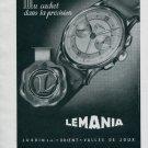 1945 Lemania Lugrin S.A. Watch Company Vintage Swiss Print Ad Publicite Suisse Montres Schweiz