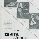 Vintage 1945 Zenith Watch Company Zenith Sporto Watch Ad Swiss Print Ad Advert Publicite Suisse