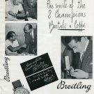 Vintage 1950 G-Leon Breitling SA Bartali + Coppi Cyclists Swiss Print Ad Publicite Suisse Montres