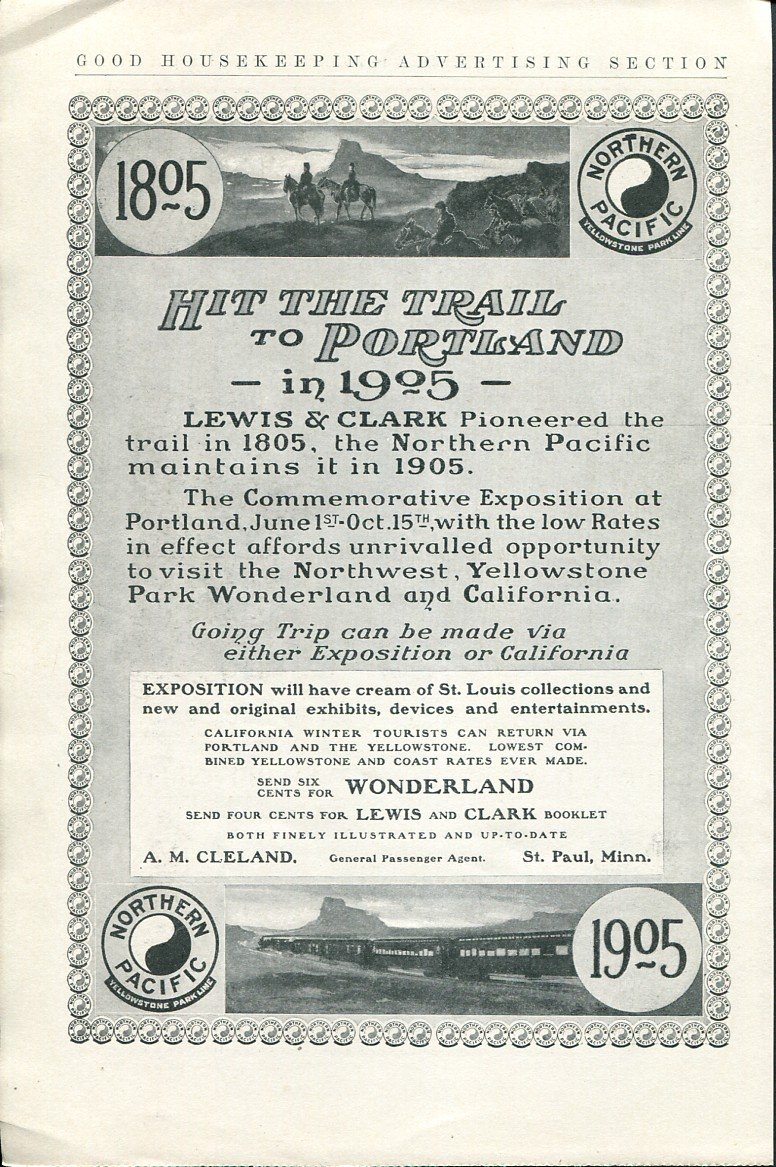 Original 1905 Northern Pacific Railway Hit the Trail to Portland Lewis & Clark Ad Magazine Advert