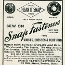 Original 1905 United States Fastener Co Boston MA Snap Fasteners Early 1900's Magazine Ad