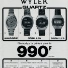 Wyler Watch Company Wyler France SA 1975 French Ad Publicite Montres Quartz