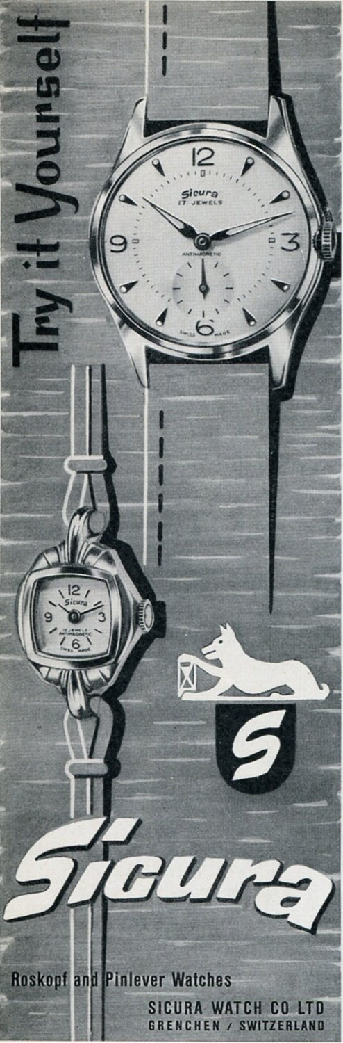 Sicura Watch Co Grenchen Switzerland 1956 Swiss Print Ad Suisse Publicite Montres