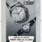 Robert Cart SA Watch Company Switzerland Vintage 1956 Swiss Print Ad Suisse Publicite Montres