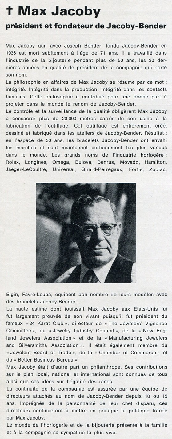 1965 Max Jacoby Memorial Jacoby-Bender Swiss Magazine Clipping