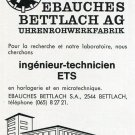 Vintage 1969 Ebauches Bettlach AG Employment Advert Publicite Suisse Schweiz Swiss Print Ad