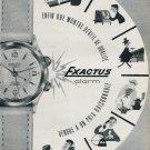 1956 Montres Exactus SA Publicite Suisse Swiss Print Ad Exactus Alarm Wrist Watch Advert
