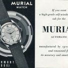 Vintage 1953 Murial Watch Co Switzerland Swiss Print Ad Publicite Suisse Montres Schweiz