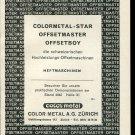 Vintage 1947 Color Metal AG Zurich Offsetmaster Swiss Print Ad Publicite Suisse Schweiz