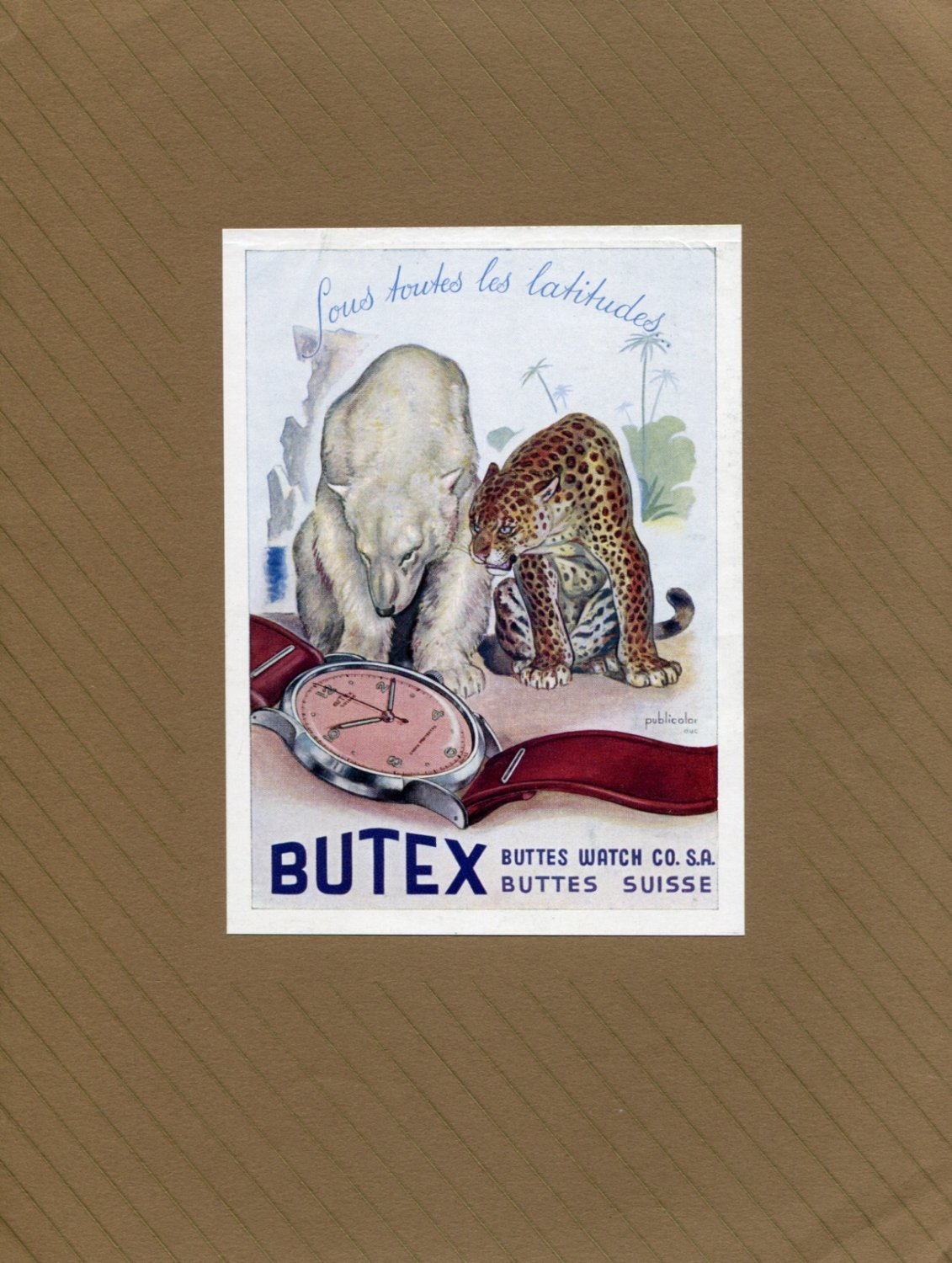 Vintage 1947 Butex Watch Company Buttes Watch Co SA Swiss Ad Advert Publicite Suisse Montres