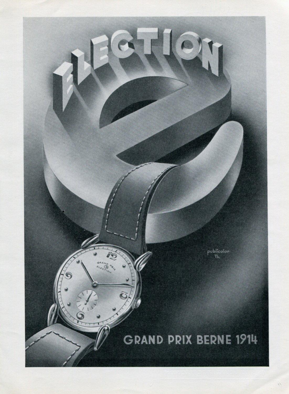 Vintage 1947 Election Grand Prix Watch Advert Publicite Suisse Montres Swiss Print Ad