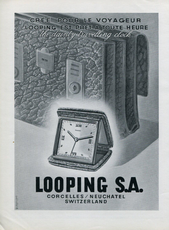 Vintage 1947 Looping Clock Company Looping SA Suisse Publicite Swiss Print Ad Advert