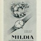 Vintage 1947 Mildia Watch Company Montres Mildia SA Suisse Publicite Swiss Print Ad Advert