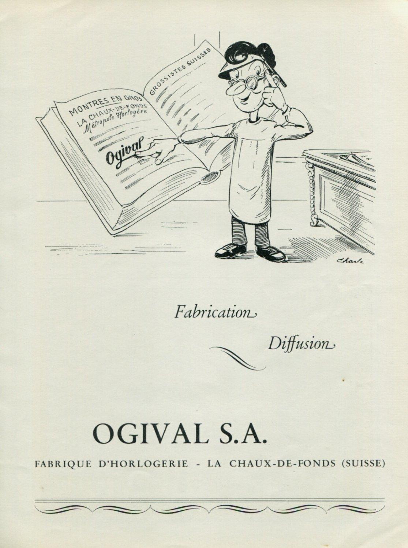Vintage 1947 Ogival Watch Company Montres Ogival SA Suisse Publicite Swiss Print Ad