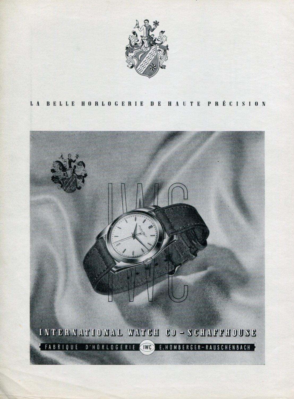 Vintage 1947 IWC International Watch Company Switzerland Swiss Print Ad Publicite Suisse Montres