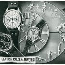 Vintage 1945 Buttes Watch Co SA Switzerland BWC BUT Butex Swiss Print Ad Suisse Publicite Montres