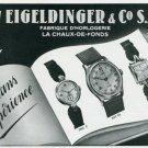 Vintage 1945 Eigeldinger & Co SA Watch Co Switzerland Swiss Print Ad Suisse Publicite Montres